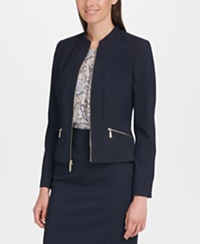 Tommy Hilfiger Zip-Up Textured Pinstriped Jacket