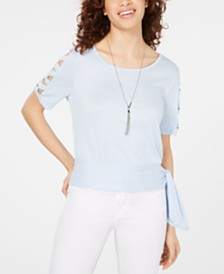 BCX Juniors' Cutout-Sleeve Top with Necklace