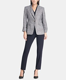 DKNY Marled Cuffed-Sleeve Jacket, Surplice-Neck Top & Essex Skinny Pants