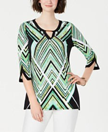 JM Collection Split-Sleeve Keyhole Tunic, Created for Macy's