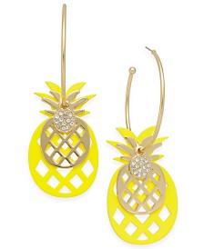 I.N.C. Gold-Tone Pineapple Charm Hoop Earrings, Created for Macy's