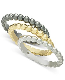 Multi-Tone 3-Pc. Set Bubble-Style Stacking Rings, Created for Macy's
