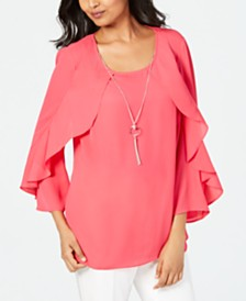 JM Collection Petite Ruffle-Sleeve Necklace Top, Created for Macy's