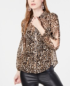 I.N.C. Leopard Button-Up Shirt, Created for Macy's