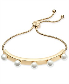 Alfani Gold-Tone Imitation Pearl Studded Bolo Bracelet, Created for Macy's