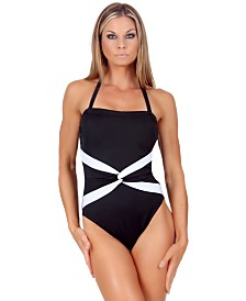 InstantFigure One-Piece Swimsuit with Super Slimming Control, Interlocking Contrast Twist Front and Removable Halter Strap