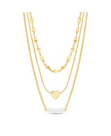 Women's Rhinestone Heart And Beaded Bar Station Triple Layered Chain Necklace
