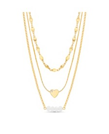 Kensie Women's Rhinestone Heart And Beaded Bar Station Triple Layered Chain Necklace
