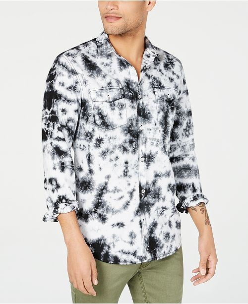 INC International Concepts INC Men's Tie Dye Denim Shirt, Created for Macy's