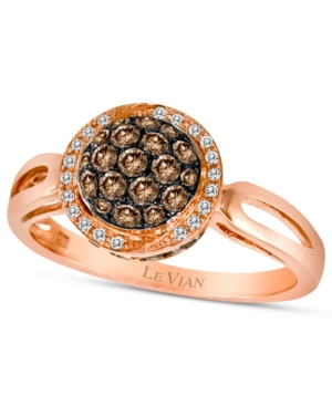 Le Vian Chocolate Diamond (1/2 ct. t.w.) and White Diamond Accent Pave Oval Ring in 14k Rose Gold