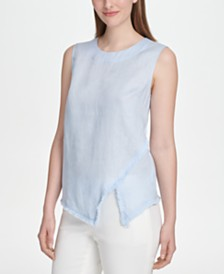 DKNY Fringed-Hem Asymmetrical Top