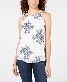 BCX Juniors' Embroidered Halter-Neck Top