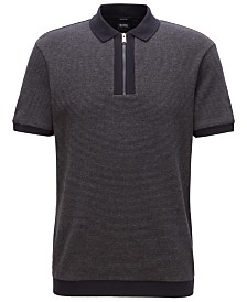 BOSS Men's Relaxed Fit Zip-Neck Cotton Polo