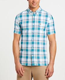 Lacoste Men's Slim-Fit Short Sleeve Oxford Plaid Shirt