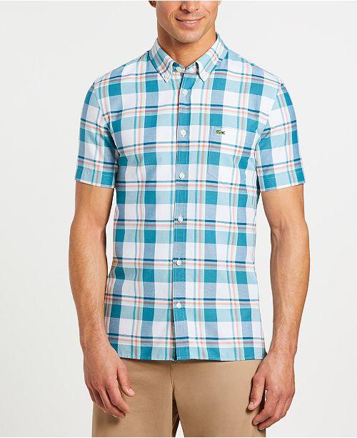 cb49523bca Lacoste Men's Slim-Fit Short Sleeve Oxford Plaid Shirt & Reviews ...