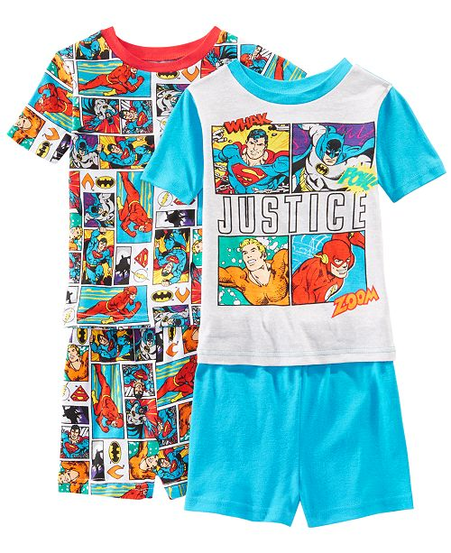 AME Little & Big Boys 2-Pack Justice League Graphic Cotton Pajamas
