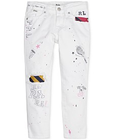 Polo Ralph Lauren Little Girls Graffiti Slim Cotton Boyfriend Jeans