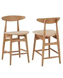 Larvik Mid-Century Natural Wood Finish Counter Height Stools Set Of 2