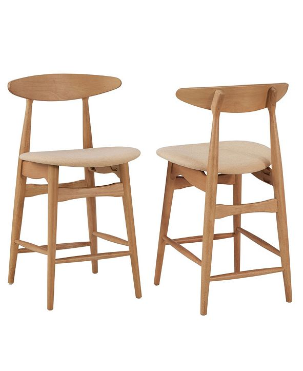 iNSPIRE Q Larvik Mid-Century Natural Wood Finish Counter Height Stools Set Of 2