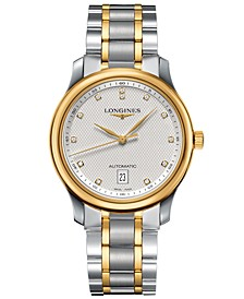 Men's Swiss Automatic Master Diamond Accent 18k Gold and Stainless Steel Bracelet Watch 39mm L26285777