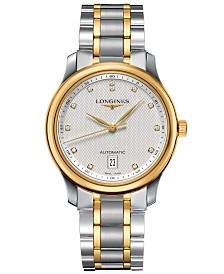 Longines Men's Swiss Automatic Master Diamond Accent 18k Gold and Stainless Steel Bracelet Watch 39mm L26285777