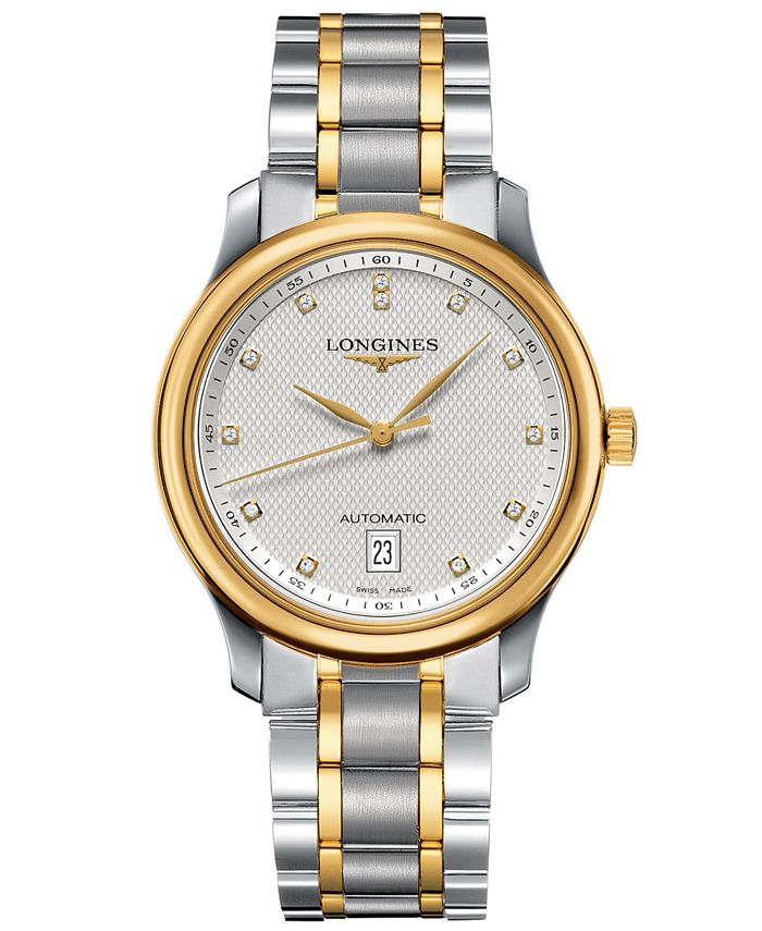 Longines - Watch, Men's Swiss Automatic Master Diamond Accent 18k Gold and Stainless Steel Bracelet 39mm L26285777