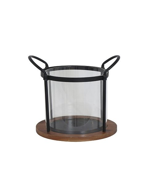 Rosemary Lane Contemporary Iron and Wood Round Candle Holder
