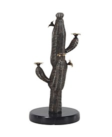 Eclectic Iron and Marble Cactus Sculpture