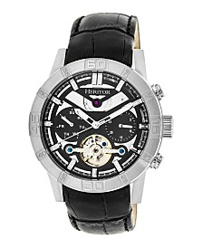 Heritor Automatic Hamilton Black Dial, Silver Case, Genuine Black Leather Watch 44mm