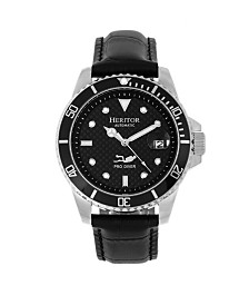 Heritor Automatic Lucius Black Dial, Silver Case, Genuine Black Leather Watch 41mm