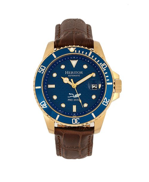 Heritor Automatic Lucius Blue Dial, Genuine Brown Leather Watch 41mm