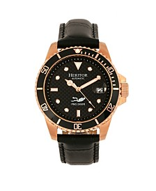Heritor Automatic Lucius Black Dial, Rose Gold Case, Genuine Black Leather Watch 41mm