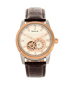 Automatic Davidson Rose Gold Case, Genuine Brown Leather Watch 42mm
