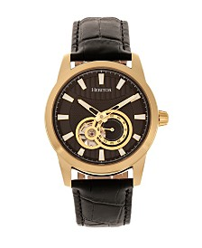 Heritor Automatic Davidson Gold Case, Genuine Black Leather Watch 42mm