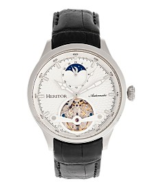 Heritor Automatic Gregory Silver Case, Genuine Black Leather Watch 45mm
