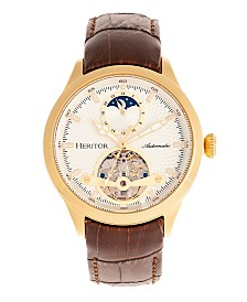 Heritor Automatic Gregory Gold Case, Genuine Brown Leather Watch 45mm