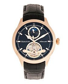 Automatic Gregory Rose Gold Case, Genuine Black Leather Watch 45mm