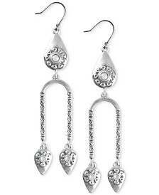 Lucky Brand Silver-Tone Stone Flower Chandelier Earrings