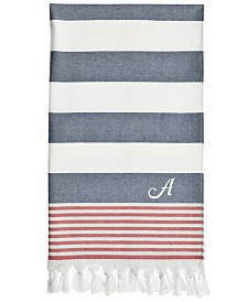 Linum Home Personalized Patriotic Pestemal Beach Towel