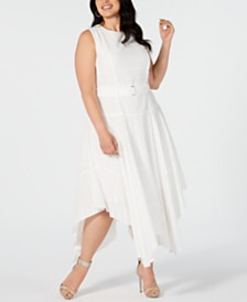 Calvin Klein Plus Size Cotton Belted Eyelet Dress