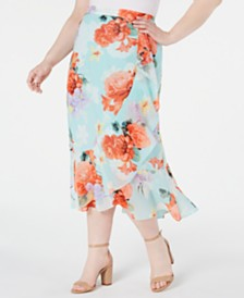 Calvin Klein Plus Size Floral-Print Ruffled Skirt