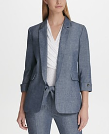DKNY Chambray 3/4-Sleeve Open-Front Blazer