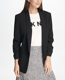 DKNY Textured Ruched-Sleeve Blazer