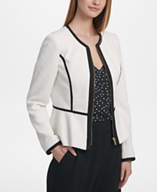 DKNY Petite Quilted Knit Zip-Up Peplum Jacket