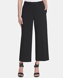 DKNY Cropped Wide-Leg Pull-On Pants