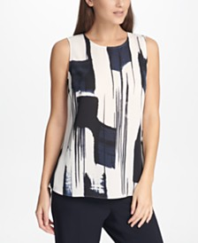DKNY Sleeveless Printed Top