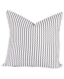"""Serpentine Stripe Licorice 16"""" Designer Throw Pillow"""