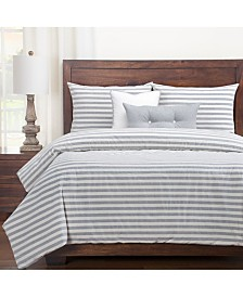 Siscovers Farmhouse Pewter Striped 6 Piece King Luxury Duvet Set