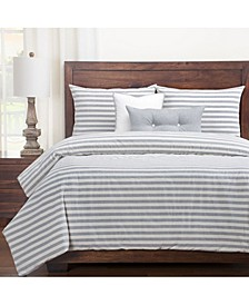 Farmhouse Pewter Striped 5 Piece Twin Luxury Duvet Set