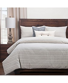 Sunwashed Slate Farmhouse 6 Piece Cal King High End Duvet Set